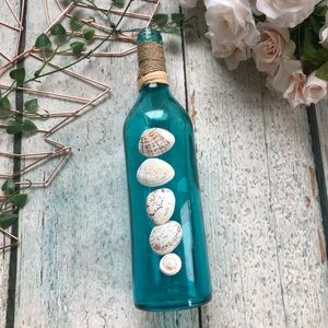Beach decor seashell bottle teal blue rope glass